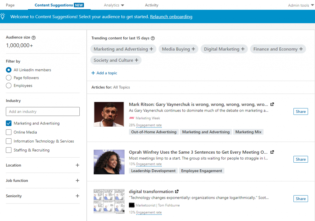 LinkedIn Company Page., LinkedIn Page, Content Suggestions