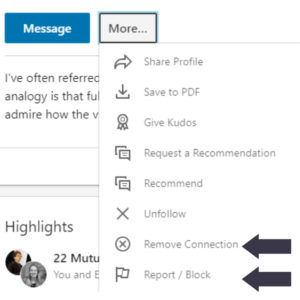 Managing your LinkedIn Feed, block or delete a Connection