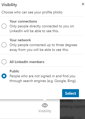 LinkedIn Profile Photo Visibility Settings