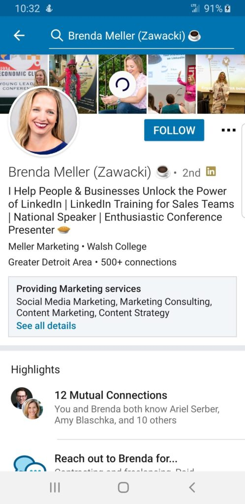 Brenda Meller's LinkedIn Profile showing Showcase Services Linkedin Features