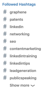 hashtags Nigel is following on LinkedIn