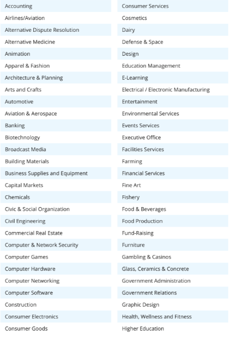 LinkedIn Industry Sector List