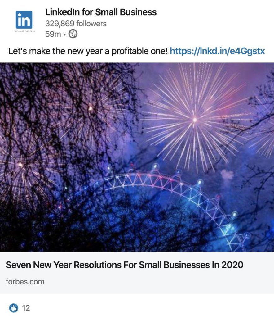 LinkedIn for Small Business Showcase Page ad