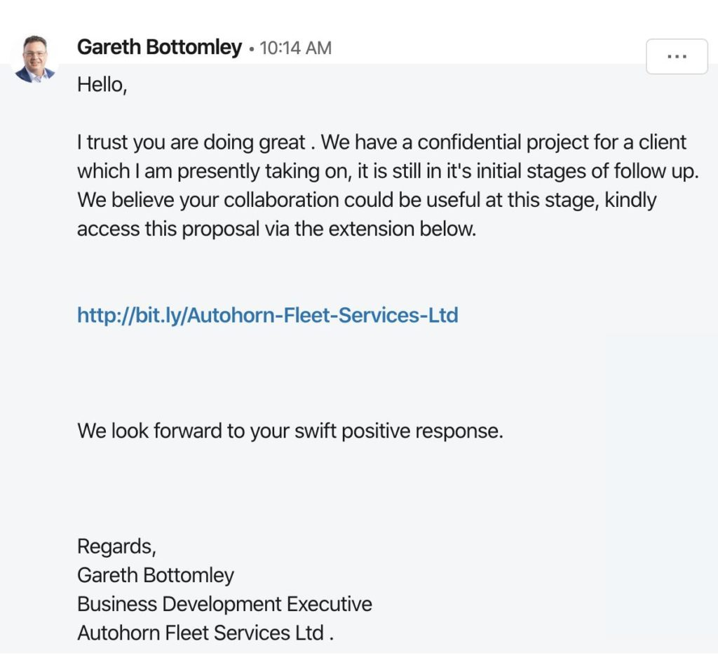 Fake LinkedIn Scam Message from Gareth Bottomley
