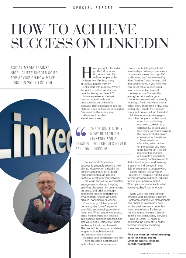 Nigel featured in Yorkshire Business Review mag