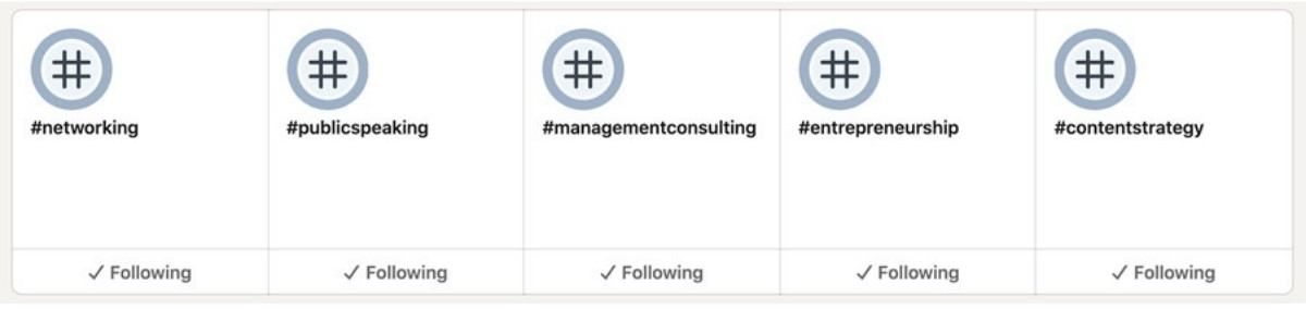 Followed LinkedIn Hashtags