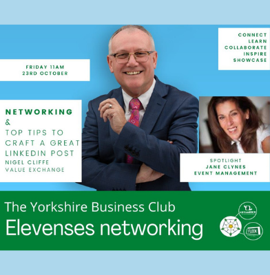 Nigel Cliffe sharing how to craft a LinkedIn post at The Yorkshire Business Club Elevenses Networking