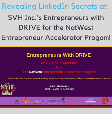 SVH Inc.;s Entrepreneurs with DRIVE event for The NatWest Entrepreneur Accelerator Program