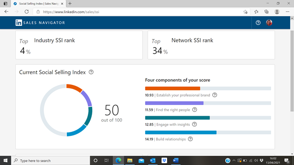 Zoe Timmins LinkedIn SSI Score after LinkedInCredible 7-week course